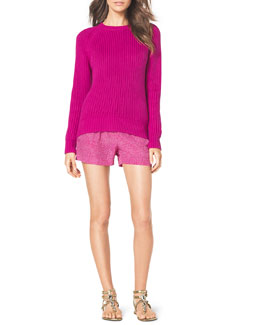 MICHAEL Michael Kors  Shaker-Knit Curved Sweater & Pull-On Linen Boxer Shorts