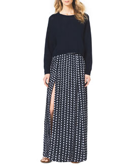 MICHAEL Michael Kors  Cropped Waffle-Knit Cashmere Sweater & Pleated  Slit Maxi Skirt