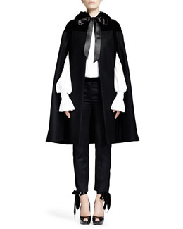 Alexander McQueen Heavy Felt Cape with Velvet, Peter Pan-Collared Blouse & Grain de Poudre Pants