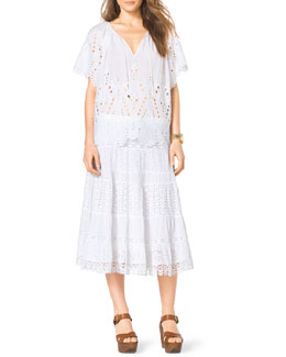 MICHAEL Michael Kors  Eyelet Peasant Top & Tiered Skirt