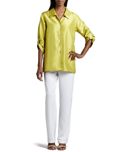 Caroline Rose Shantung Tab Shirt & Straight-Leg Pants