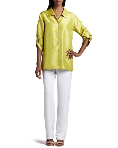Caroline Rose Shantung Tab Shirt & Straight-Leg Pants, Women's