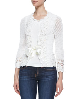 Michael Simon Crochet Satin-Tie Cardigan & Crochet-Trim Tank, Women's
