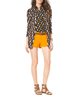 MICHAEL Michael Kors  Loom Long Printed Cardigan, Long-Sleeve Printed Blouse &  Stretch Clean Mini Shorts
