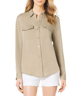 MICHAEL Michael Kors  Button-Front Linen Blouse & Stretch Clean Mini Shorts