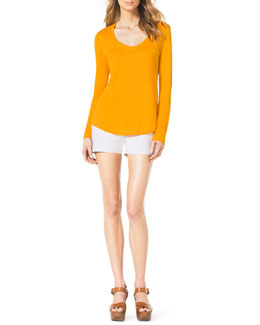 MICHAEL Michael Kors  Scoop-Neck Slub Top & Stretch Clean Mini Shorts