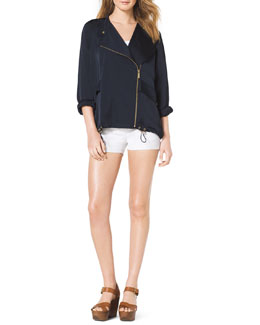 MICHAEL Michael Kors  Oversize Front-Zip Jacket, Ribbed Sweater Tank & Stretch Clean Mini Shorts