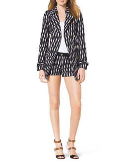 MICHAEL Michael Kors  Printed Short Trenchcoat, Ribbed Sweater Tank & Printed Stretch Clean Mini Shorts