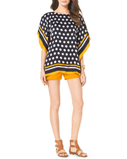 MICHAEL Michael Kors  Spotted Flutter Top & Stretch Clean Mini Shorts