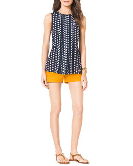 MICHAEL Michael Kors  Pleated-Front Dotted Top & Stretch Clean Mini Shorts
