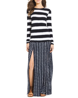 MICHAEL Michael Kors  Striped Long-Sleeve Tee & Pleated Slit Maxi Skirt