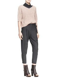 Brunello Cucinelli Ribbed Half-Sleeve Sweater, Striped-Sleeve Turtleneck Top & Embellished-Belt Ankle Trousers