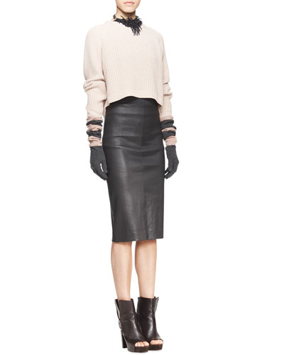 Brunello Cucinelli Long-Sleeve Ribbed Raglan Sweater, Sleeveless Ribbed-Knit Tee, High-Waist Leather Pencil Skirt & Riverstone Beaded String-Cluster Choker Necklace