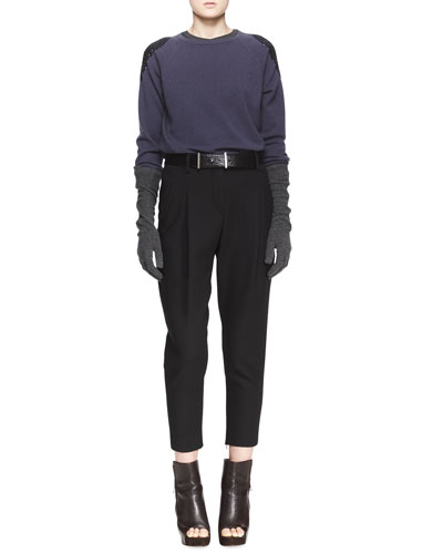 Embellished-Shoulder Cashmere Sweater, Sleeveless Ribbed-Knit Tee, Relaxed Pleated Ankle Pants & Elbow-Length Striped Cashmere Gloves