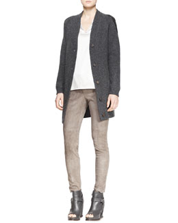 Brunello Cucinelli Long Boyfriend Patch-Pocket Cashmere Cardigan, Silk Charmeuse Tank Top & Fitted Suede Pencil Leg Pants