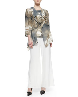 Caroline Rose Watercolor Rose Jacket, Tank & Wide-Leg Pants