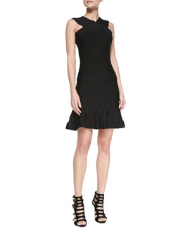 Herve Leger Banded Crisscross High-Neck Top & Above Knee Knit Flare Skirt