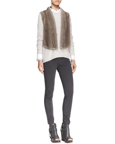 Brunello Cucinelli Tulip-Back Mink Vest, Beaded Choker Necklace, Long-Sleeve Cashmere Knit Top, Long-Sleeve Poplin Blouse & Stretch Cotton Side-Zip Jodhpur Leggings
