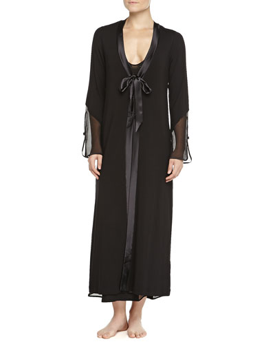 Ricamoto Lace-Trimmed Tulle-Inset Halter Gown & Kimono Robe, Black