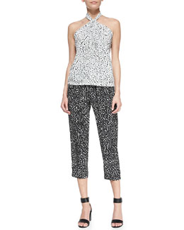 Robert Rodriguez Silk Chalk-Print Halter-Neck Top & Track Pants