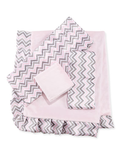 Chevron Receiving Blanket, Security Blanket & Burp Cloth Set