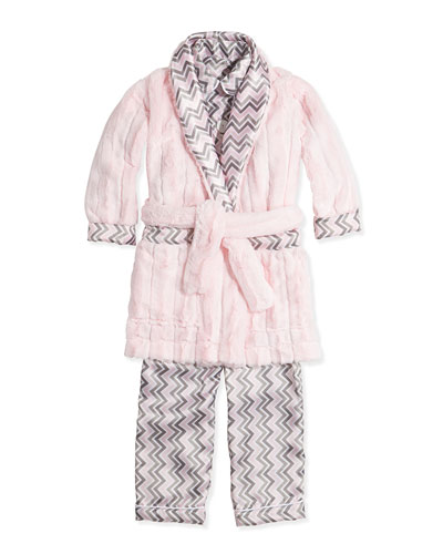 Chevron Plush Robe & Satin Pajamas