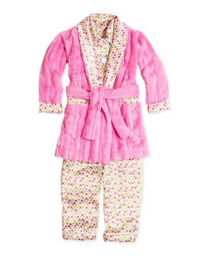 Dot-Print Satin Pajama Set & Dot Plush-Stripe Robe