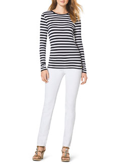 MICHAEL Michael Kors  Striped Knit Top & Slim Jeans