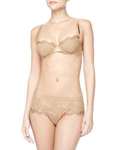 Embroidered Tulle Balconette Bra and Hipster Briefs