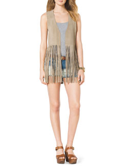 MICHAEL Michael Kors  Leather Fringe Vest, Ribbed Tank & Mixed-Denim Cutoff Shorts