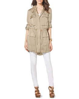 MICHAEL Michael Kors  Shiny Cinch-Waist Anorak, Ribbed Sweater Tank & Slim Jeans