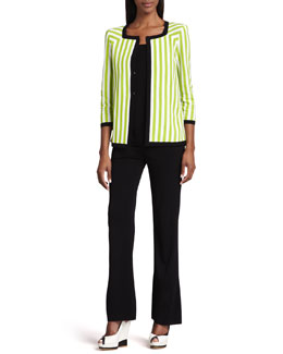 Misook Gloria Striped Jacket, Amy Slim Tank & Palazzo Fit-&-Flare Pants, Women's
