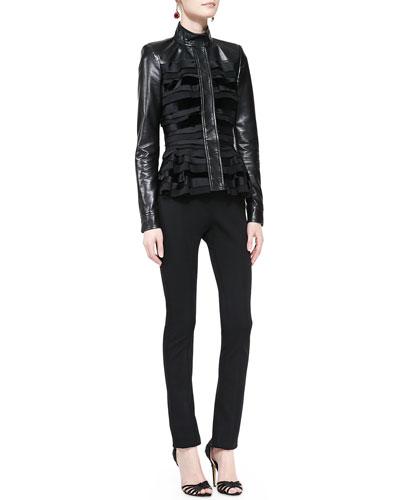 Oscar de la Renta Silk/Leather Jacket & Skinny Wool-Blend Pants