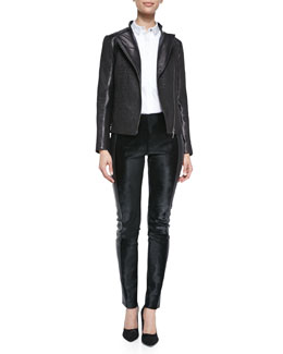 Arzu Kaprol Puckered Stretch Leather Moto Jacket, Short-Puff-Sleeve Tuxedo Blouse & Paneled Leather Pants
