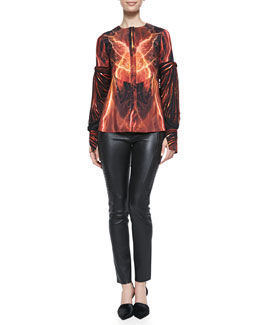 Arzu Kaprol Silk Thunder-Print Sleeve-Detail Blouse & Side-Embroidery Leather Pants