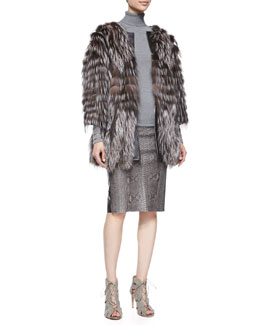 Arzu Kaprol 3/4-Sleeve Fox Fur/Tulle Coat & Python-Print Leather Pencil Skirt