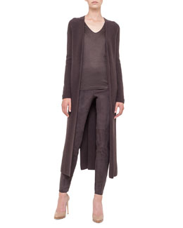 Akris Belted Cashmere Duster, V-Neck T-Shirt & Melissa Slim Stretch Leather Pants