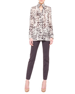 Akris Abstract-Print Mock-Neck Tunic and Melissa Techno Stretch Slim Pants