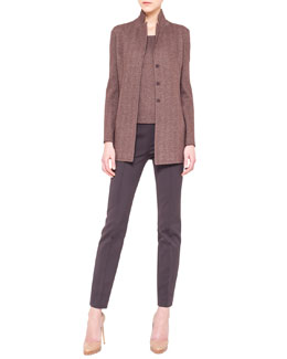 Akris Reversible Herringbone Jacket, Scoop-Neck Herringbone Tank & Techno Stretch Slim Pants