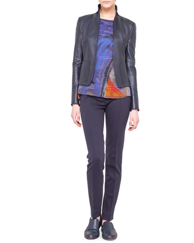 Akris punto Leather and Jersey Jacket, Graffiti-Print Silk Blouse & Mara Flat-Front Jersey Pants