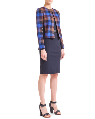 Akris punto Check-Front Snap Jacket, Zip-Front Jersey Top & Waist-Trim Jersey Pencil Skirt