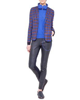 Akris punto Paneled Check Wool Jacket, Contrast-Cuff Wool Sweater & Leather and Jersey Leggings