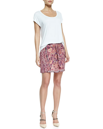 Three Dots Cap-Sleeve Relaxed Tee & Printed Tie-Front Skirt