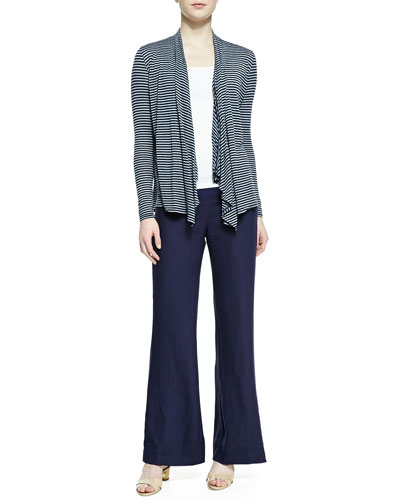 Three Dots Long-Sleeve Striped Ruffle-Front Cardigan & Wide-Leg Linen Pants