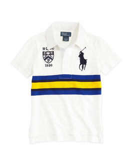 Ralph Lauren Childrenswear Rugby-Collar Big Pony Polo, White