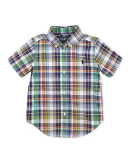 Ralph Lauren Childrenswear Toddler Boys' and Boys' Blake Plaid Short-Sleeve Shirt
