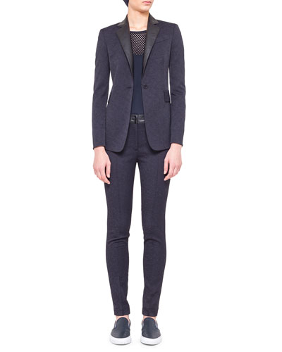 Akris punto Single-Button Tech Jacquard Jacket, Sleeveless Embroidered-Yoke Shell & Tech Jacquard Flat-Front Trousers