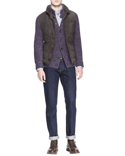 Brunello Cucinelli Button-Front Suede Vest, Buttoned Melange Cashmere Cardigan, Check Button-Down Shirt & Five-Pocket Selvedge Denim Jeans