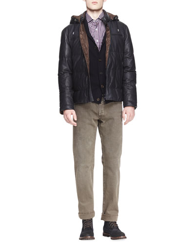 Brunello Cucinelli Short Leather Puffer Jacket, Buttoned Cashmere Shawl-Collar Cardigan, Twill Micro-Madras Shirt & Five-Pocket Colored Denim Jeans