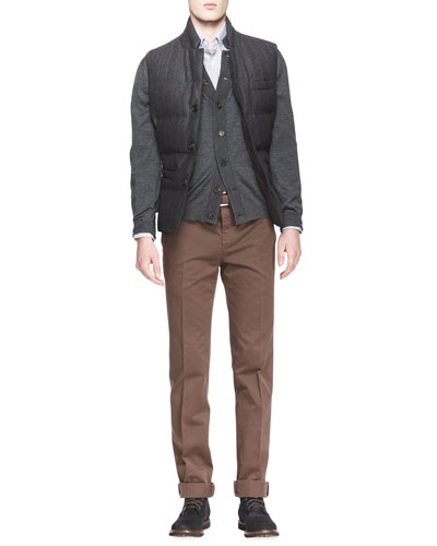 Brunello Cucinelli Buttoned Pinstripe Puffer Vest, Melange Knit Buttoned Cardigan, Small-Windowpane-Check Shirt & Cotton Flat-Front Pants